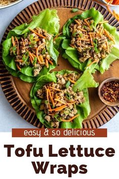 You're going to LOVE this one pot vegan dinner that's so easy to make and the perfect healthy meal! This Vegan Lettuce Wraps recipe is a P. F. Chang copycat and I think it might even be better than the original. These super simple tofu lettuce wraps can be ready in just 20 minutes. Vegetarian Lettuce Wraps, Vegan Lettuce Wraps, Lettuce Wrap Recipes, Best Tofu Recipes, Vegan Recipes, Cooking Recipes, New Cookbooks, Hoisin Sauce, Vegan Dinners