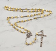 aacc19004 STERLING Catholic Rosary Faux Pearl STERLING Rosary Capped Pearl Beads  Rosary Catholic, Necklace Box,
