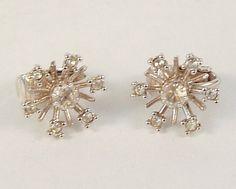 Vintage Clip On Earrings Rhinestone Snowflake Silvertone