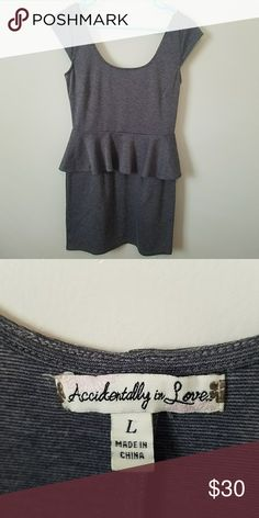 f4874c667d4f Large Grey Peplum Dress with Cap Sleeves Beautiful grey dress that hits  right above knee. No zippers. Easy slip on and off! Accidentally In Love  Dresses ...