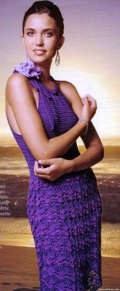 Chorrilho de ideias: Vestido roxo verão em crochet