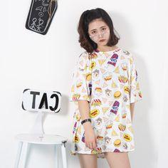 原宿系 ファッション 個性 ハンバーガー柄 半袖 Tシャツ ワンピース