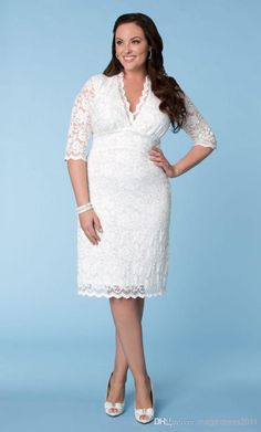 2014 White Ivory Vintage Wedding Dresses Beach bridal Gown with Half Sleeve Short A-Line V-Neck Plus size Wedding Gown Bridesmaid Dresses
