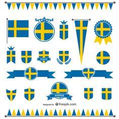 Pack de vectores con la bandera de Suecia Vector Gratis