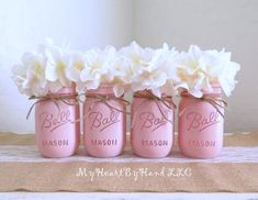 A personal favorite from my Etsy shop https://www.etsy.com/listing/398006517/ballerina-pink-distressed-mason-jars