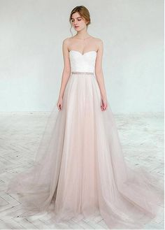 Glamorous Tulle & Satin Sweetheart Neckline A-Line Wedding Dresses With Lace Appliques