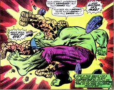The Thing, who is actually the Hulk attacks the Hulk, who is actually the Thing.