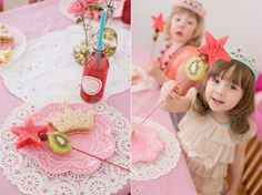 Fruit wands for princess party - healthy kids party food