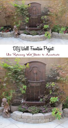 Japanese Maples Courtyard Garden with Wall Fountain: DIY Wall Fountain Project with Retaining Wall Blocks