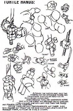 Teenage Mutant Ninja Turtles model sheets and production art, both for the comics and the animated series. Also, Splinter, April, and Shredder, and various enemies.