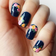Dark Blue with Colourful Forals nail art by Tallie