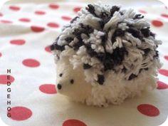 zakka life: Craft Project: Hedgehog Pom Pom - Pom Pom with felt cone glued to head for face.