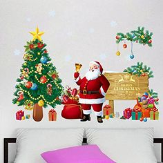 Bidlsbs Christmas Tree Santa Claus Gift Bag Wall Sticker Waterproof Vinyl Removable 3D Wall Art Decals DIY Mural Wallpaper for Room Festival New Year Holiday Home Decoration ** Check this awesome product by going to the link at the image.