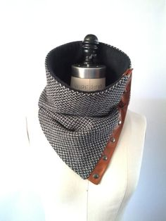 Black and cream herringbone Italian wool cowl scarf by System63. $68