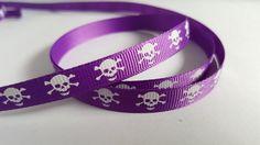 3m Ribbon - Printed Grosgrain - 9mm - Skull & Crossbones - Purple