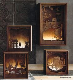 Folkloric Light Boxes Roost Folkloric Light Boxes How about inside an old console TV?Roost Folkloric Light Boxes How about inside an old console TV? Shadow Box Kunst, Shadow Box Art, 3d Cuts, Vitrine Design, Wood Crafts, Paper Crafts, Diy Lampe, Lampe Decoration, Creation Deco