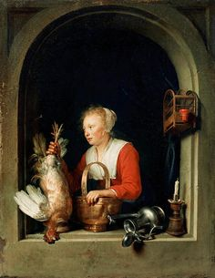 The Dutch Housewife or, The Woman Hanging a Cockerel in the Window, 1650 Gerrit Dou - Featured Artworks