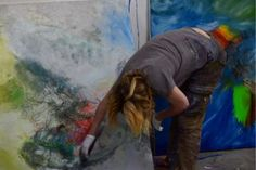 Laurel Holloman's paintings for July 2014 Paris show - artist at work