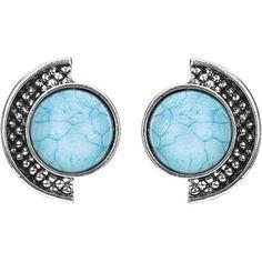 Yoins Blue Semi-circle Stud Earrings (280 DOP) ❤ liked on Polyvore featuring jewelry, earrings, yoins, accessories, orecchini, blue, blue stud earrings, earring jewelry, blue jewelry and blue earrings