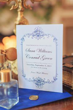 white and blue invitation. Victorian Era Indoor Wedding Inspiration – KnotsVilla