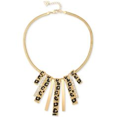 Guess Gold-Tone Animal-Look Stick Collar Necklace ($42) ❤ liked on Polyvore featuring jewelry, necklaces, gold, guess jewelry, animal necklaces, goldtone jewelry, guess jewellery and gold tone collar necklace
