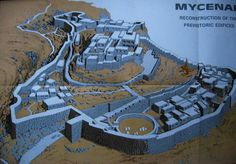 The layout of ancient Greek city Mycenae (about 1450 BCA)