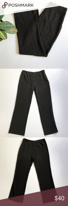 Neiman Marcus Exclusive Knit Wide Leg Trousers Knit wide leg trousers from Neiman Marcus Exclusive. Size: Large. Color: Black. Classic and quality pit of knit trousers with side zip and button closure. 62% polyester, 33% rayon, 5% spandex. Inseam: 33 inches. Still has extra button attached. Neiman Marcus Pants Wide Leg