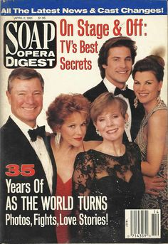 classicsodcovers:  Classic SOD Cover Date: April 2, 1991 (clockwise from top) Jon Hensley, Heather Rattray, Kathryn Hays, Eileen Fulton, & Don Hastings (Holden, Lily, Kim, Lisa, & Bob, AS THE WORLD TURNS)