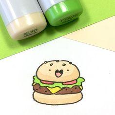 Happy National Burger Day ☺️ I guess I have to go and get a burger today then • • #NationalBurgerDay # #kawaii #doodle #hamburger #burger #cheeseburger #sketchbook #copicmarkers #かわいい #可愛い