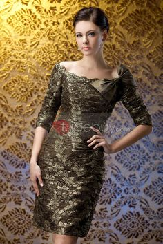 Attractive Lace Bowknot Sheath/Column Off-the-Shoulder Short Polina's Mother of the Bride Dress : Tidebuy.com