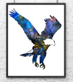 Eagle Artwork, Bird Artwork, Wings Like Eagles, Blue Wall Decor, Blue Walls, Bald Eagle, Watercolor Art, Moose Art, Batman