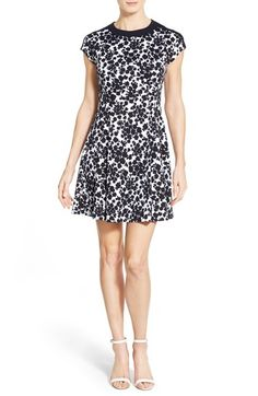 MICHAEL Michael Kors Contrast Trim Print Fit & Flare Dress available at #Nordstrom