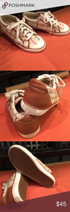 Coach sneakers Cute coach tennis shoes worn only once  lace up Canvas Coach Shoes Sneakers
