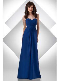 Sheath / Column Sweetheart Floor Length Blue Chiffon Bridesmaid / Wedding Guest Dresses 501065