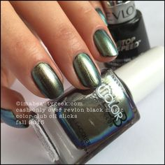 Color Club Oil Slicks – Color Club Cash Only over Revlon Black Magic. The whole collection swatched at imabeautygeek.com