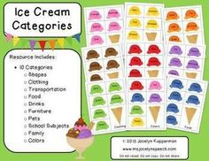 Ice Cream Categories FREEBIE. Repinned by SOS Inc. Resources pinterest.com/....