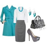 Accessories. Fashion Worship. Gray, white and blue. Blue trench coat. White blouse, blue rope necklace, gray skirt. Blue drop earrings. Gray doctors bag purse. Gray high heels