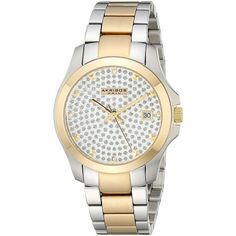 Akribos XXIV Impeccable Crystal Pave Stainless Steel Bracelet Watch (£80) ❤ liked on Polyvore featuring jewelry, watches, stainless steel watches, crystal crown, stainless steel wrist watch, crystal bracelet watch and akribos xxiv watches