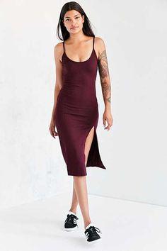 Silence + Noise Thigh-Slit Midi Slip Dress
