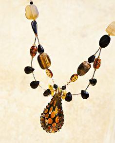 Original topaz & black glass teardrop necklace with black onyx, tiger eye,citrine, Swarovski crystals & sterling silver. It goes perfectly with those animal prints! www.accessoreez.com