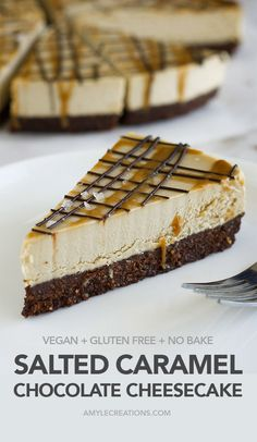 Salted Caramel Chocolate Cheesecake! All the delicious elements that make up this cheesecake: A chocolate base, creamy caramel filling, chocolate and caramel drizzle with a sprinkle of sea sea on top! Vegan, gluten free and sweetened with dates and coconut sugar. #vegan #glutenfree #recipe