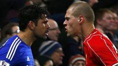 Chelsea striker Diego Costa and Liverpool defender Martin Skrtel