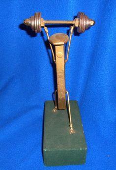 Very Rare Folk Art Railroad Spike Art Weight Lifter