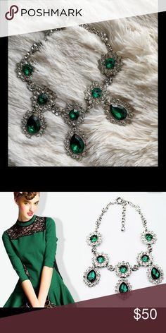"""""""Isabelle"""" Emerald Crystal Statement Necklace Beautiful one of a kind necklace found only in this listing. Gorgeous paired with your favorite event outfit! Measurements coming soon. Bedecked & Bedazzled Jewelry Necklaces"""