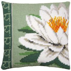 Vervaco® White Lotus Flower Pillow Cover Needlepoint Kit