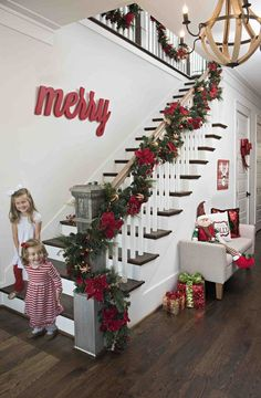 Christmas Decoration for Stairs & Draped garland to accent the window | Christmas Decor and DIY ...