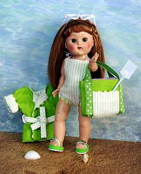 "~GoiN' To THe BeaCH!~ Sunsuit, BeachCoat, Glasses, Bag, Towel for a Vogue 7.5"" vintage or Vintage Reproduction Ginny DoLL. Also fits Nancy Ann Muffie and Madame Alex. 7.5"" dolls. At my website www.karmelapples.com now. A matching set of lime green flip-flops are also available for her. Check it all out, you Ginny needs summer clothing. Click the pic to take you there. THIS COLOR SOLDOUT,SORRY."