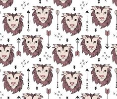 Cool scandinavian style lion and arrows safari animals kids illustration geometric pattern in beige and pink fabric surface design by Little Smilemakers on Spoonflower - custom fabric and wallpaper inspiration