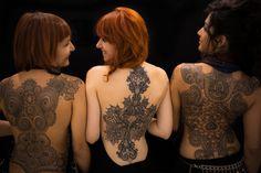 back piece tattoo ornamental lace mandala mehendi dotwork