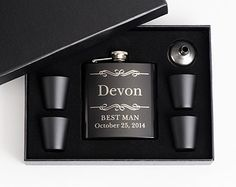 9, Personalized Groomsmen Gift, Engraved Flask Set, Stainless Steel Flask, Personalized Best Man Gift, 9 Flask Sets